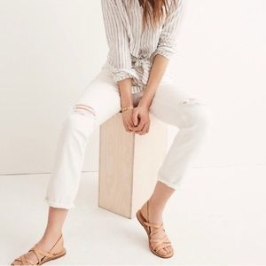 NWT Madewell High-Rise Slim Boyjean in Tile White
